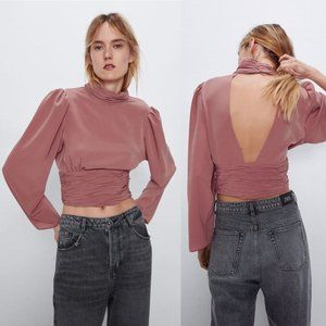 Zara Rose Pink Open Back Crop Top Ruched Size M